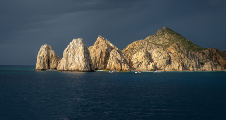 Aerial view of El Arco, at Cabo San Lucas. Rocky outcrops featuring a natural arch, are one of the most famous natural attractions of Mexico