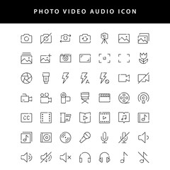 photo video outline icon set vol1