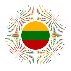 Lithuania sign. Country flag with colorful rays. Radiant sunburst with Lithuania flag. Vector illustration.