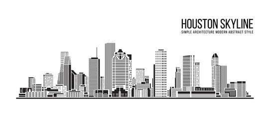 Cityscape Building Simple architecture modern abstract style art Vector Illustration design -  Houston city Wall mural
