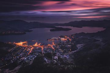 Fotobehang Aubergine Sunset at Port Hills, Christchurch, New Zealand