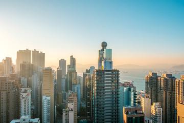 Hong Kong city skyline , skyscraper and blue sky copy space - Wall mural