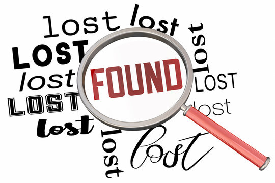Lost and Found Magnifying Glass Search Find Missing Item Words 3d Illustration