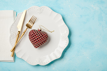 Christmas or Valentine's Day table setting