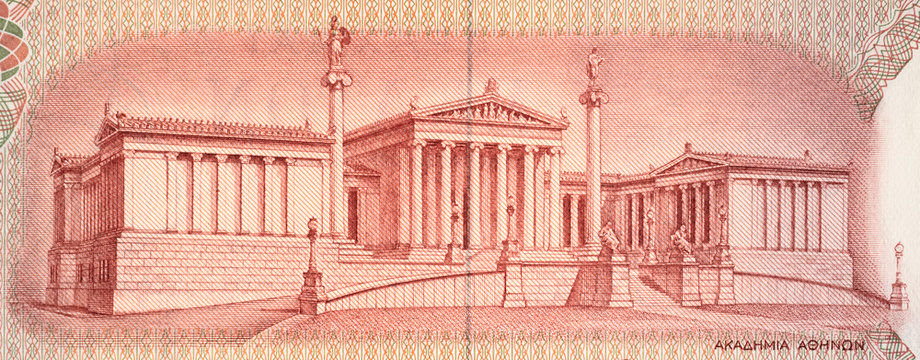Academy of Athens on old Greece 10 drachma (1967). Greek university in Athens. Vintage engraving.
