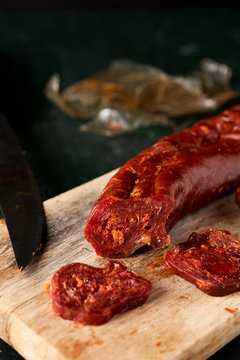 chorizo, cured pork sausage typical of spain