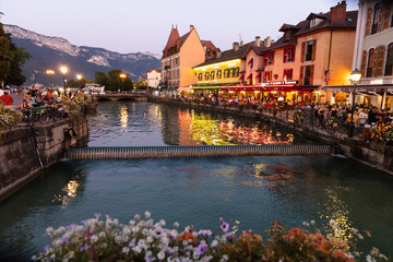 in the streets of Annecy, the largest city of Haute Savoie department in the Auvergne Rhone Alpes region in southeastern France. Also called Venice of France.