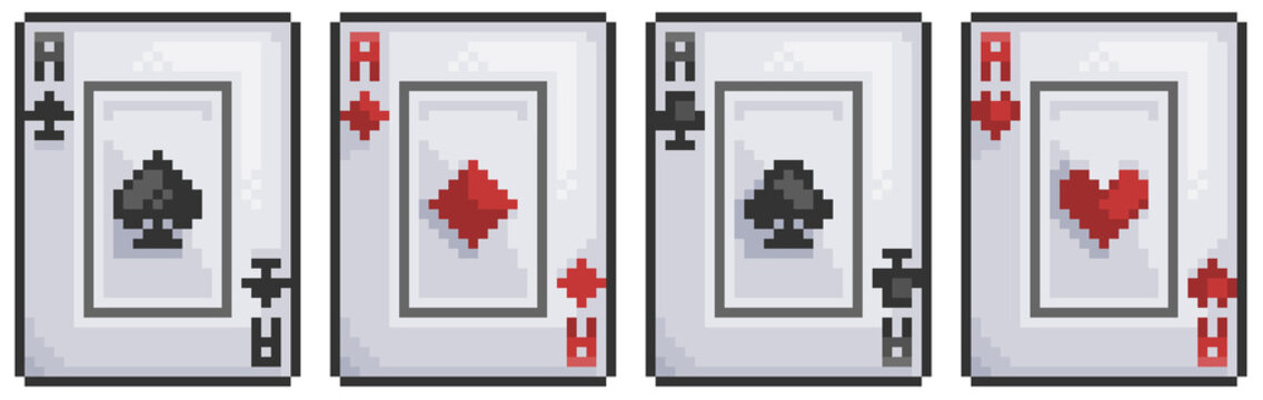 Pixel art playing card, spades, hearts, gold, sticks 8bit game icon