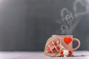 Foto op Plexiglas Thee background concept for valentines day. place for text