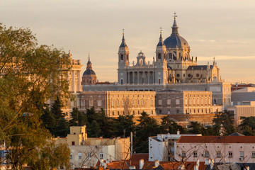 Printed roller blinds Madrid Almuneda cathedral and the royal palace in Madrid, Spain