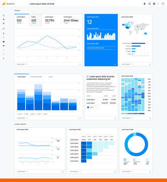 Google analytics infographic chart. Traffic statistic on website. World map audience. Marketing work flow and template. Ads analisis mock up. Editorial progress presentation. Vector illustration.