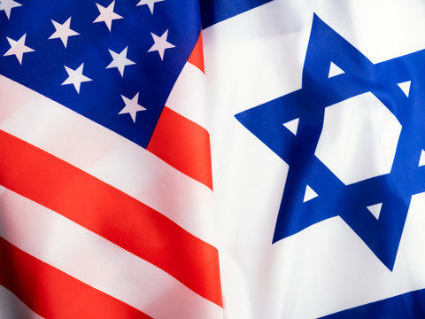 Flags of United states of America and Israel