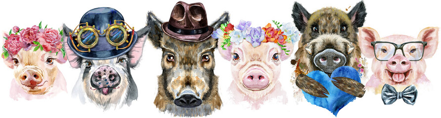 Border from pigs. Watercolor portraits of pigs and boars