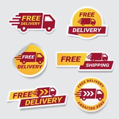 Free Delivery badge sticker set. Vector label design element free delivery