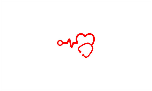 Stethoscope with a heart and heart beat pulse concept in flat vector logo design