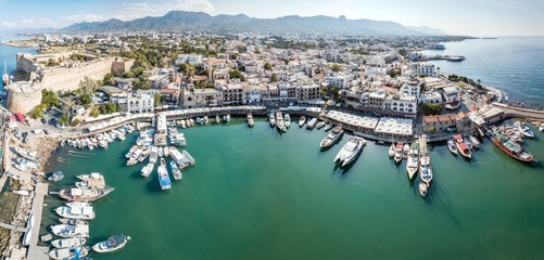 Autocollant pour porte Chypre Aerial view of Sea port and Old Town of Kyrenia (Girne) is a city on the north coast of Cyprus.
