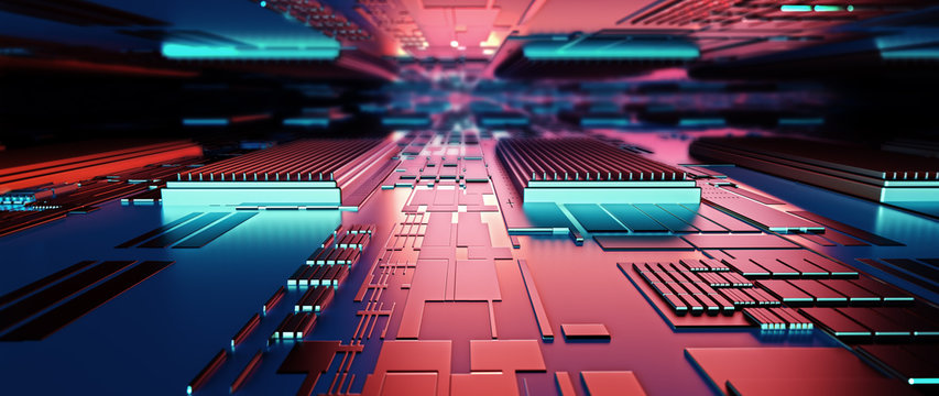 Circuit board futuristic server code processing. Red,  green, blue technology background with bokeh. 3d rendering