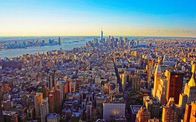Wall Murals New York Aerial panoramic view on Skyline with Skyscrapers in Downtown and Lower Manhattan, New York City, America. USA. American architecture building. Panorama of Metropolis NYC. Metropolitan Cityscape