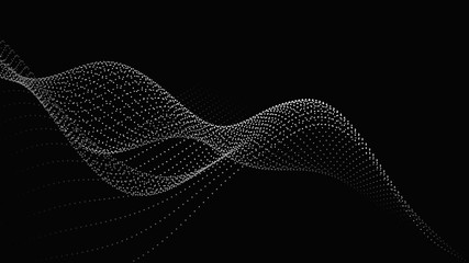 Poster Abstract wave Abstract digital wave of particles. Futuristic point wave. Technology background vector. Vector illustration