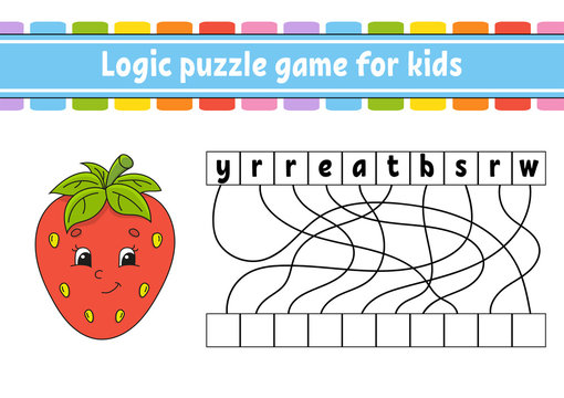Logic puzzle game. Red strawberry. Learning words for kids. Find the hidden name. Worksheet, Activity page. English game. Isolated vector illustration. Cartoon character.