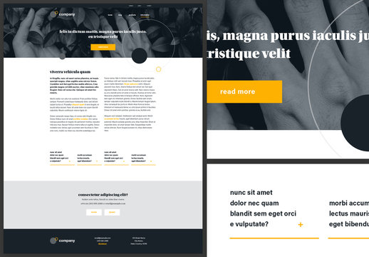 Information Page Website Design Layout Black and White with Yellow Accents