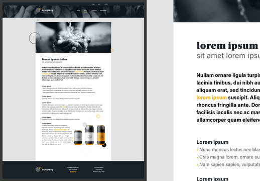 Blog Detail Page Website Design Layout Black and White with Yellow Accents