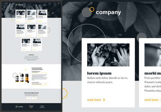 Blog Overview Page Website Design Layout Black and White with Yellow Accents