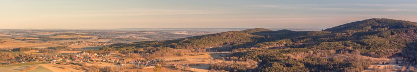 Fond de hotte en verre imprimé Cappuccino panorama landscape with villages, forests, meadows, fields and hills, blue sky