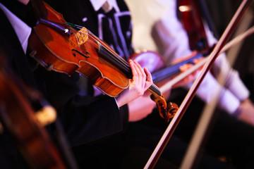Image of violin performance at asian women hand grab