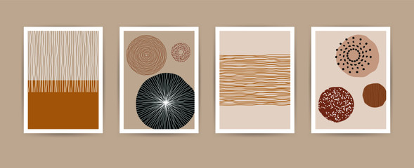 Fototapeta Contemporary abstract shapes poster set. Modern geometric vector flat line elements, art print templates. Collage illustration for invitations, flyers, poster, magazine cover, packaging