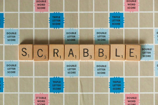 WOODBRIDGE, NEW JERSEY - October 9, 2018: A vintage Scrabble board game is shown with letter tiles spelling out Scrabble