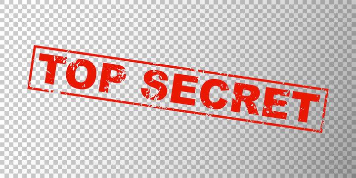 Top secret red square grunge stamp on transparent grid background. Private concept sign with text - top secret. Ink mark for secret files. Vector illustration