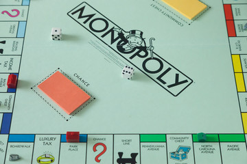 WOODBRIDGE, NEW JERSEY - October 11, 2018: A view of a circa 1980s Monopoly board game