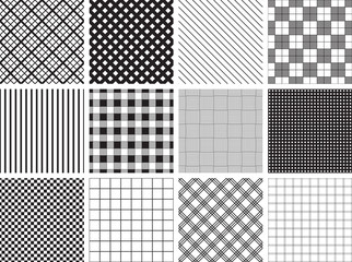 A collection of 12 seamless plaid, check and stripe patterns.