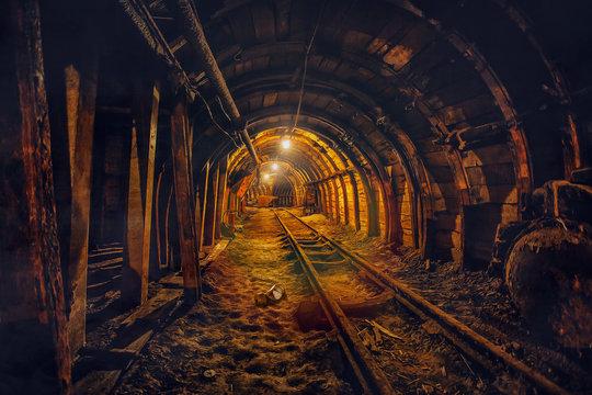 Underground mining tunnel with rails