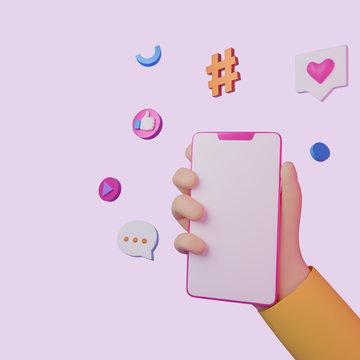 Hand holding smartphone. Social media applications. Mobile app concept. 3d render