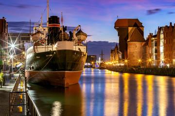 Canvas Prints Ship Gdansk. City embankment in night illumination.