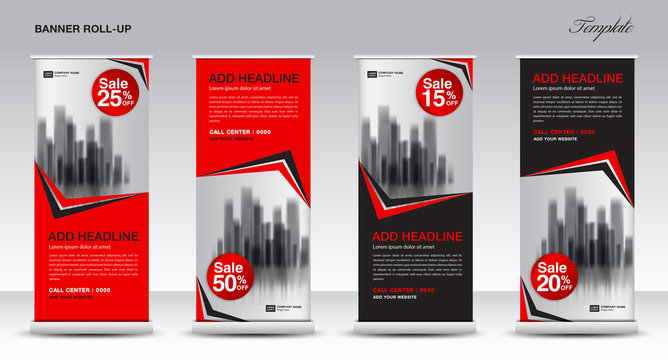 Roll up banner stand template design, Promotion Banner template, x-banner, pull up, Advertisement, creative concept, Presentation, red and black background, poster, events, display, j-flag, vector