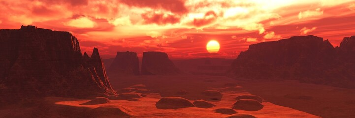 Türaufkleber Kastanienbraun Mars surface at sunset, alien landscape, 3D rendering.