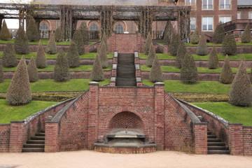 Blick auf den Terrassengarten von Kloster Kamp in Westdeutschland