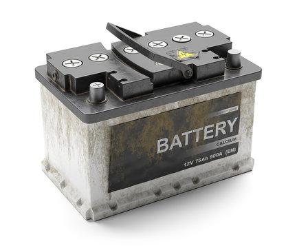 Dead car rusty battery. Recycling.