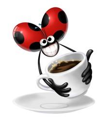 Wall Mural - coccinella con caffè
