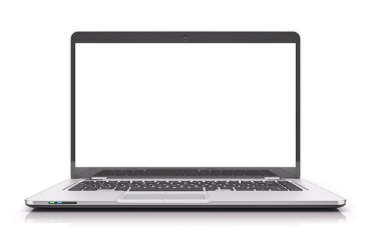 Front view on laptop with blank white screen Isolated on a white background.