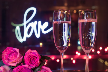 Wall Mural - Valentines, dinner date night background.