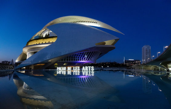 Futurist architecture: Opera house and cultural centre in Valencia, Spain. Palau de les Arts Reina Sofia
