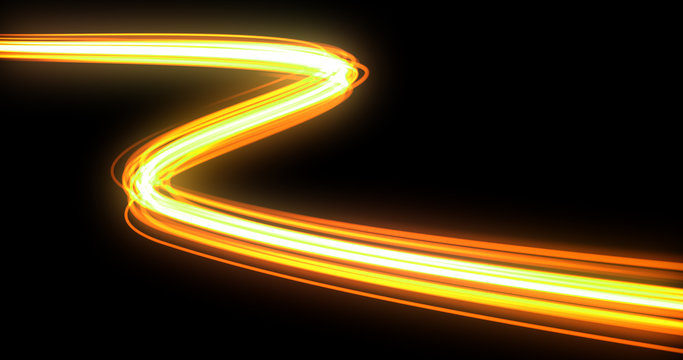 Light wave with trail path, orange neon glowing flash trace. Car lights trace effect, optic fiber glow and magic bright light in motion curve on black background