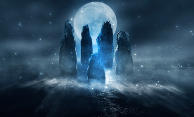 Futuristic night landscape with abstract island. Large magic stones, moonlight, sparkle. Dark natural scene with reflection of light in the water, neon blue light. Dark neon background.