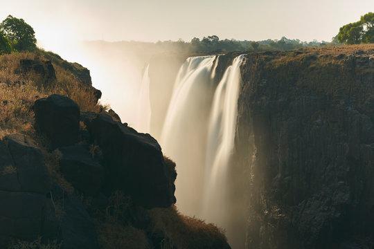 View of Victoria Falls at sunset, Zimbabwe