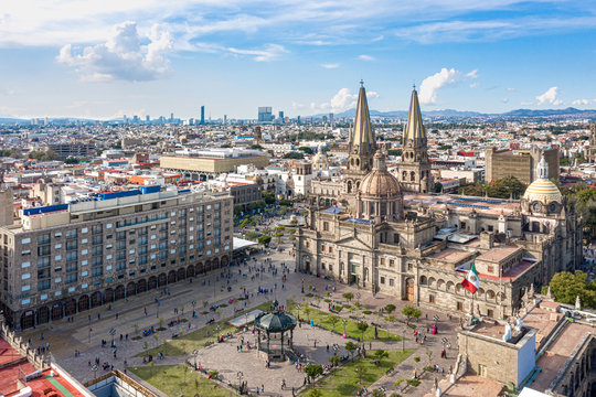 Aerial drone view of plaza of Guadalajara city mexico