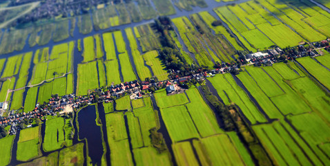Aerial view of cultivated agricultural farming land with vivid green color as a typical dutch canals natural irrigation system shot from the air with tilt-shift focus effect Fotomurales